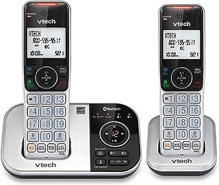 VTech VS112-2 DECT 6.0 Bluetooth 2 Teléfono inalámbrico para el hogar con contestador, Bloqueo de Llamadas, identificación de Llamadas, intercomunicador y conexión a la celda (Plateado y Negro)