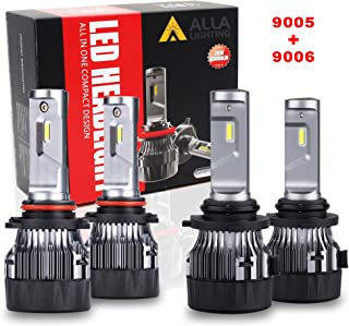 ALLA Lighting S-HCR HB3 9005 High Beam HB4 9006 Low Beam LED Headlight Bulbs Combo Sets 10000Lms Extreme Super Bright 9005 9006 LED Headlight Bulbs Conversion Kits, Xenon White (4 Packs, 2 Sets)