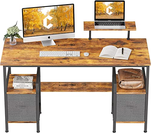 high quality CubiCubi Computer Desk 2021 55 Inch Home Office Multipurpose Writing Desk with Extra Storage Rack popular and Moveable Shelf, Rustic Brown online sale