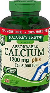 Absorbable Calcium 1200 mg with Vitamin D3 5000 IU | 120 Softgels | Calcium Carbonate Supplement | Non-GMO Gluten Free | N...