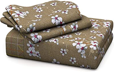 Lotus Home Couture 120 TC Brown Floral with Two Side Border Print 100% Cotton Double Bedsheet with Two Pillow Covers (Brown, Queen, Set)