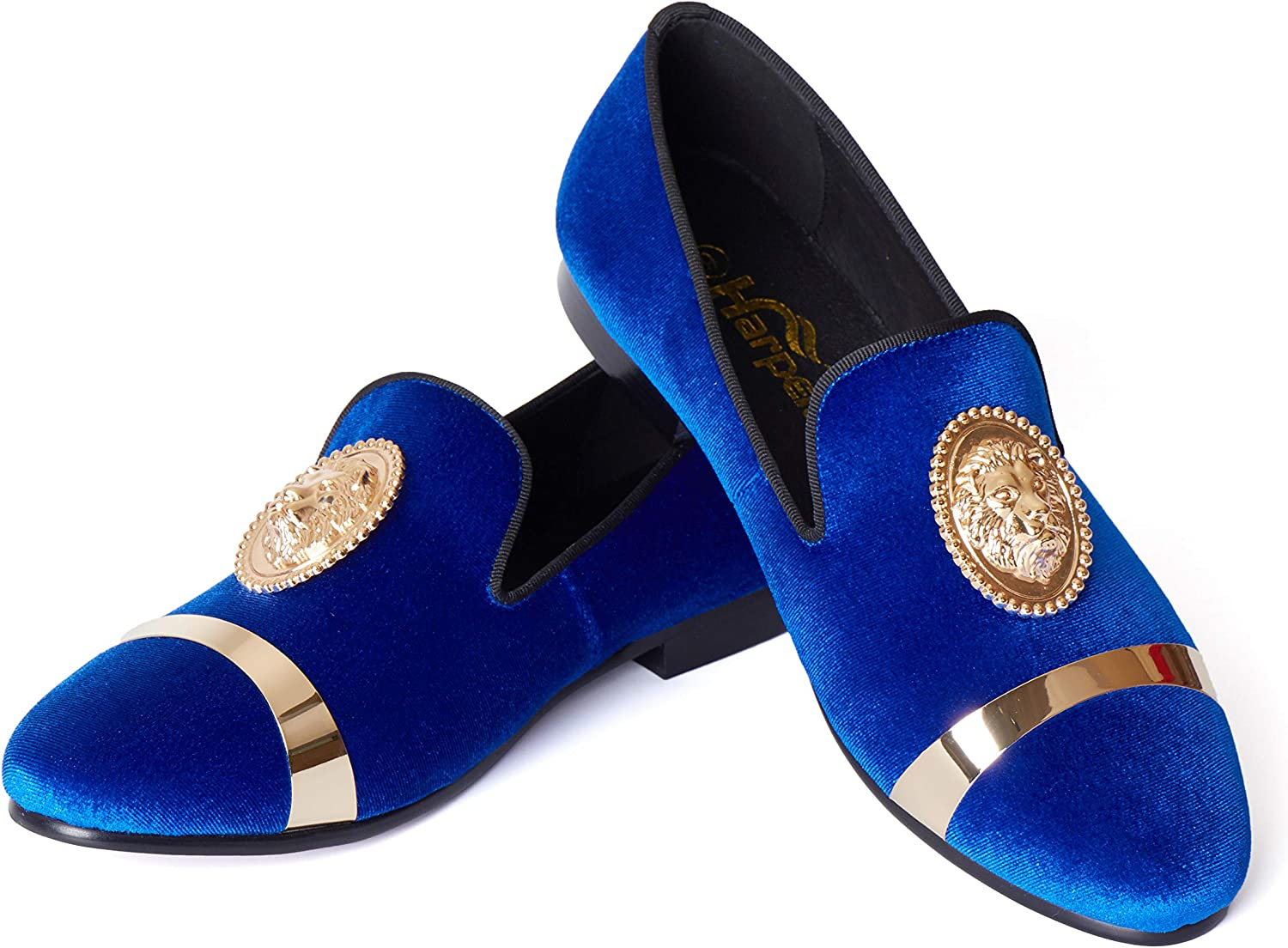 Fit Blue Velvet OFFer Loafers Shoes for Long-awaited an Golden with Lion Buckle Men