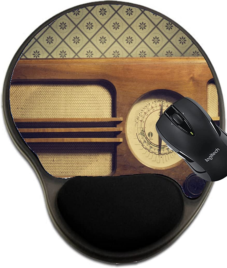 MSD Mousepad Wrist Protected Mouse Pads/Mat with Wrist Support Design 26824265 Antique Radio on Retro Background