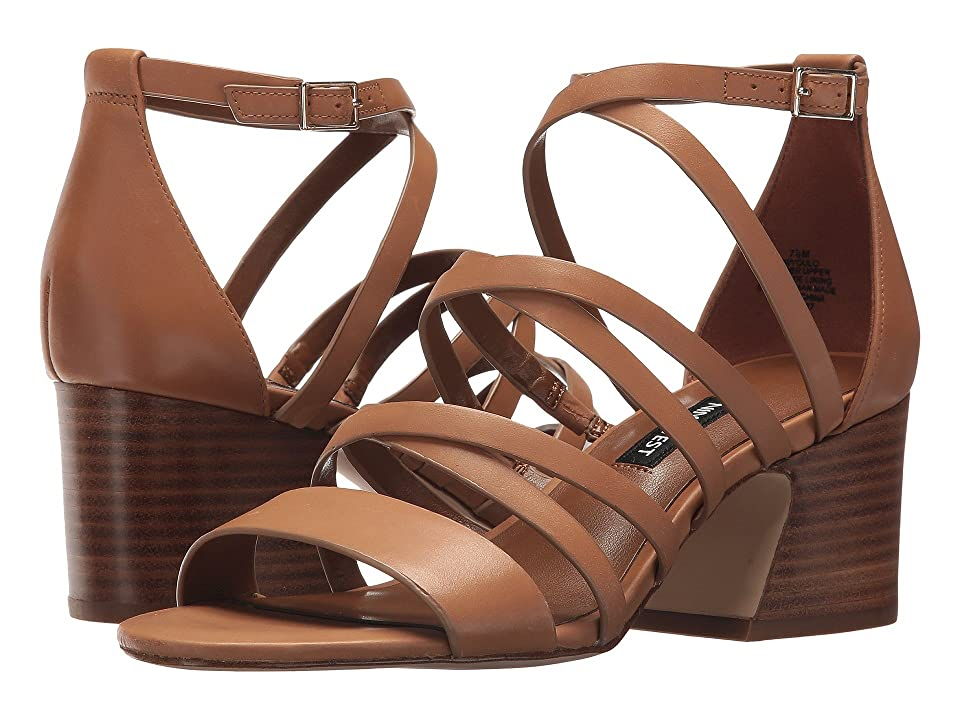 Nine West Youlo Strappy Block Heel Sandal (Dark Natural Leather) Women