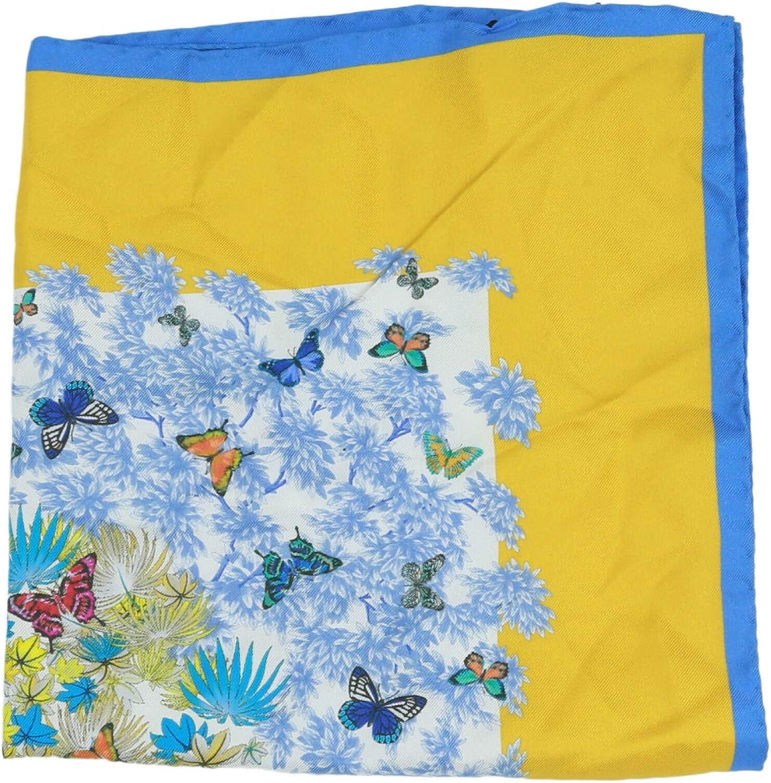 Kiton Bordered Butterfly Silk Kerchief Handkerchief