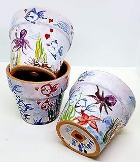 n.3 Vasi da fiore diametro 13 Handmade Le Ceramiche del Castello Made in Italy