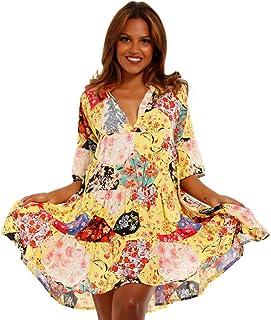 e46c00b9cc9d2 YC Fashion & Style Damen Tunika Kleid mit Patchwork Muster Boho Look  Partykleid Freizeit Minikleid oder