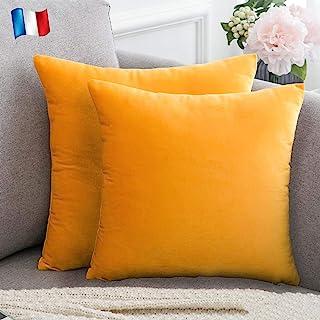 Housse de coussin gris ocre jaune moutarde Gris Transat rayures Dandelion Safran