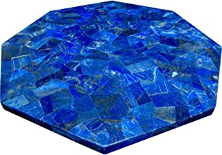 Blue Marble Dining Table Top Mosaic Art Lapis Lazuli Random Work Handmade from India 48 Inches