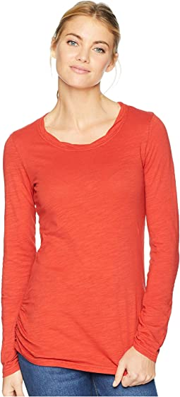 Slub Jersey Long Sleeve Twisted Scoop Neck Tee