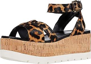 Franco Sarto Women's FAE Wedge Sandal, Camel, 9.5