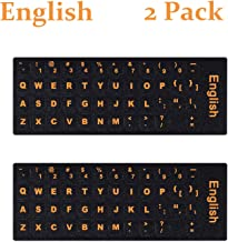 2PCS Pack English Keyboard Stickers, English Keyboard Replacement Sticker with Black Background and Orange Lettering for Computer Notebook Laptop Desktop Keyboards