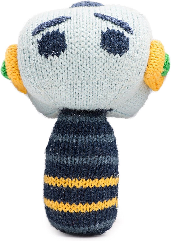 Finn + Emma   Mini Rattle   Baby Boy   Hugo   100% Organic & EcoFriendly   Hand Knit & Fair Trade   Made in Peru