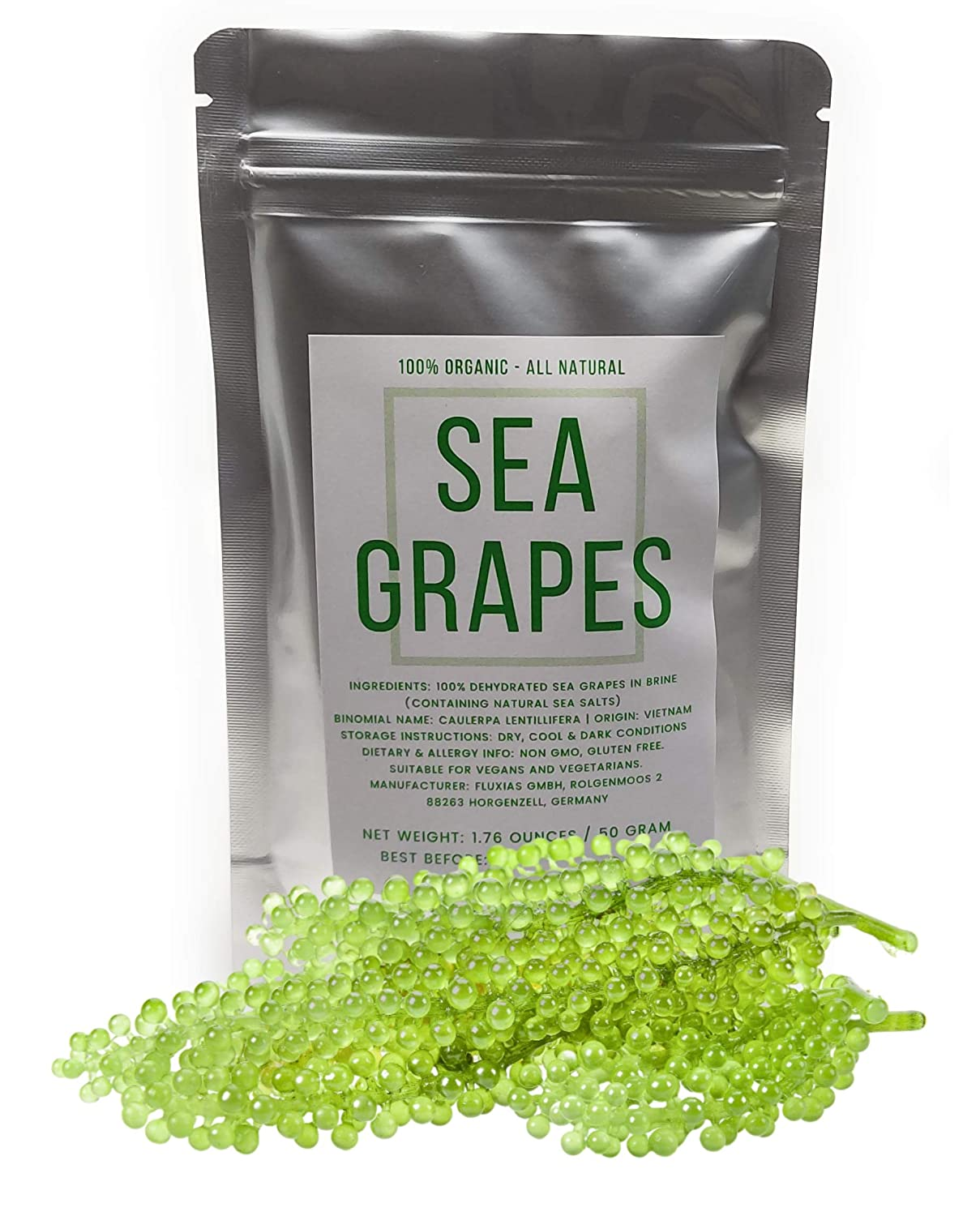 Organic Umibudo Sea Grapes - Delicious Green Caviar Seaweed - Dehydrated Seagrapes in Brine, Net weight: 1.76oz/50g - makes 1/2 pound once soaked