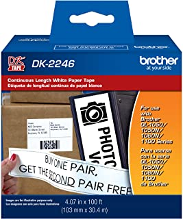 """Brother Genuine DK-2246 Label Paper for Brother QL Label Printers - Continuous Length Black on White Paper Labels, 4.07"""" x..."""
