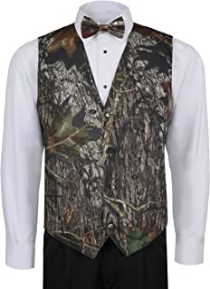 Camouflage Vest For Men w/ Long Tie & Bow Tie - X-Large