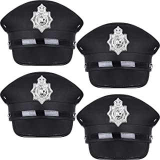 SATINIOR 4 Pieces Black Police Hat Cop Captain Hat Police Officer Costume Accessories for Funny Party