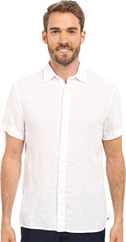 Perry Ellis - Short Sleeve Solid Linen Shirt