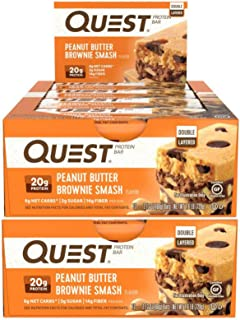 Quest Nutrition Protein Bar Peanut Butter Brownie Smash Bar. Low Carb Meal Replacement Bar with Over 20 Gram Protein. High Fiber, Gluten-Free (24 Count)