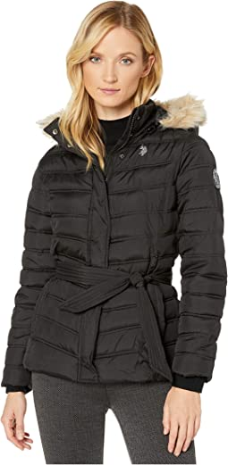Belted Puffer Jacket with Fur Hood