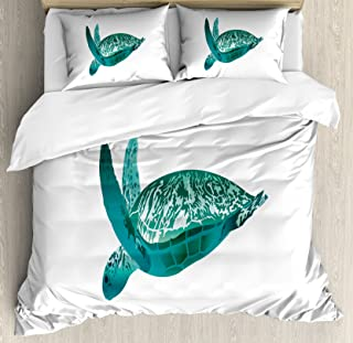 Lunarable Turtle Duvet Cover Set, Tropical Climate Animal Hawaii Fauna Underwater Diving Aqua Reptile Ocean, Decorative 3 Piece Bedding Set with 2 Pillow Shams, Queen Size, Teal Jade