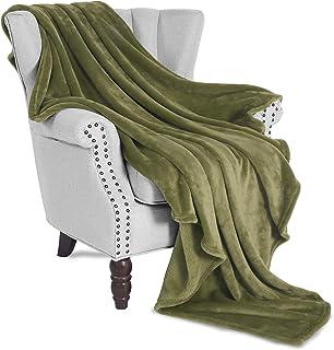 "Exclusivo Mezcla Large Flannel Fleece Plush Soft Throw Blanket – 50"" x 70"" (Olive Green)"