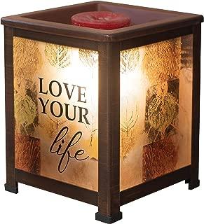 Elanze Designs Love Your Life Rustic Leaves Copper Tone Metal Electrical Wax Tart & Oil Glass Lantern Warmer