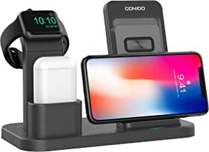 Conido Adjustable Wireless Charger for iPhone, 3 in 1 Charging Stand for Apple Watch AirPods Charging Station Stock Holder Compatible iPhone X/8 Plus/8 AirPods/Apple Watch Series 3/2/1 (Black)