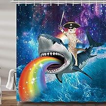 Divertidas cortinas de ducha de gato pirata para baño, juego de cortinas de baño para niños, accesorios de tela, decoració...