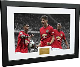 12x8 A4 Signed Marcus Rashford Daniel James Anthony Martial Manchester United Autographed Photo Photograph Picture Frame Football Soccer Poster Gift