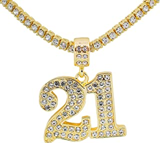 White Gold-Tone Hip Hop Bling Simulated Crystal Panda with Crown Pendant with 20 Tennis Chain and 24 Rope Chain