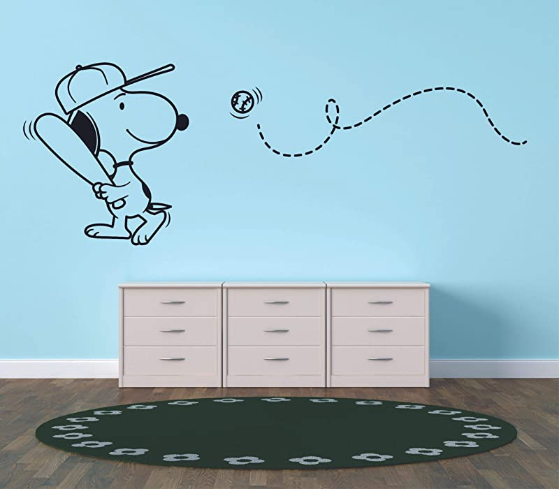 Snoopy Wall Decals For Kids Bedroom Snoopy Dog Boy Room Decor Vinyl Art Stickers Decal Childrens Rooms The Peanuts Movie Cartoon Character Baseball Sports Fun Dogs Decoration Size 4x10 Inch