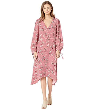 kensie Charmed Bouquets Long Sleeve Dress with Tie Details at the Cuff KS0K8406 (Vintage Rose) Women