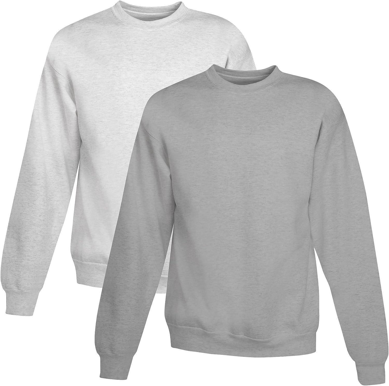 Hanes Men's EcoSmart Fleece Sweatshirt, 1 Ash/1 Light Steel, (Pack of 2)