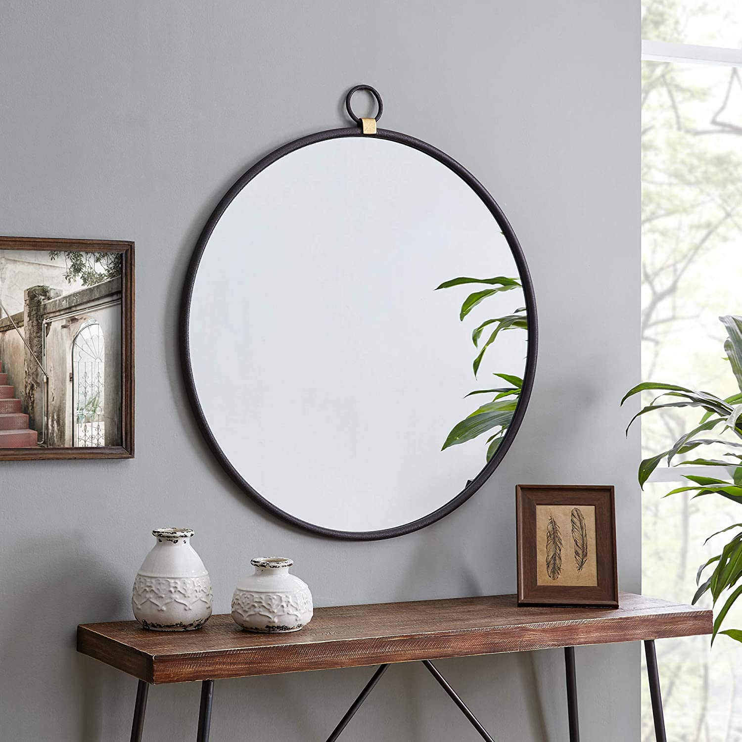 FirsTime Japan's largest assortment Oklahoma City Mall Co. Marshall Black Round American Sa Crafted Mirror
