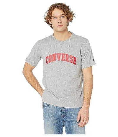 Converse Collegiate Text Short Sleeve Tee (Vintage Heather Grey) Men
