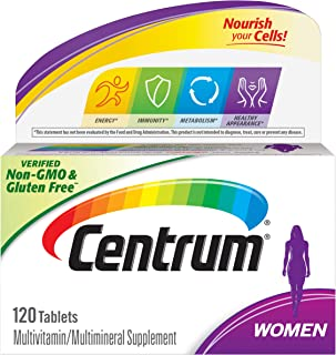 Centrum Multivitamin for Women, Multivitamin/Multimineral Supplement with Iron, Vitamins D3, B and Antioxidants - 120 Coun...