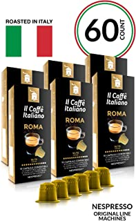 Il Caffé Italiano Coffee, Capsules Compatible with Nespresso OriginalLine, Certified Genuine Roma Roma Strong Intensity Pack, 60 Espresso Pods, Crafted in Messina, Italy