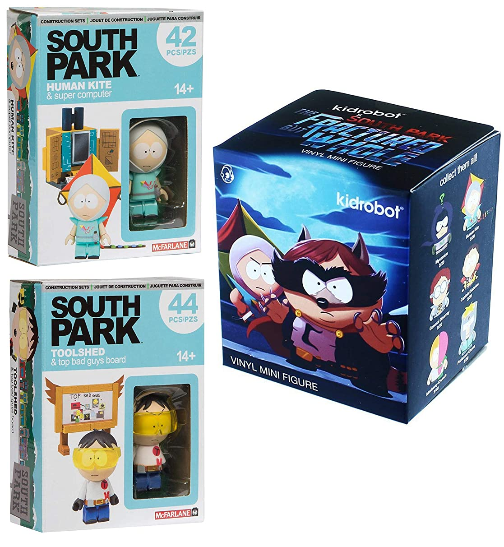 Kid Robot & The Fractured But Whole Blind Box Mini Vinyl Figure & South Park Buildable Scene Toolshed & Human Kite Mini Sets Bundle