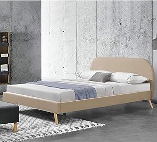 Lit Rembourré Robuste avec Sommier à Lattes Lit Double Solide Confortable Bois Lin 200 x 140 cm Crème