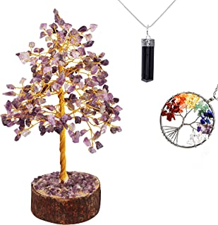 JAGASY Amethyst Tree of Life 7 Chakra Reiki Necklace Black Tourmaline Pendant Jewelry Aura Cleansing Buddha Kitchen Table ...