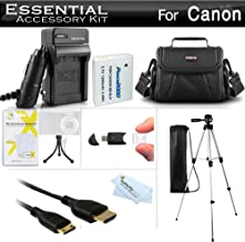 Essential Accessories Kit For Canon PowerShot SX500 IS, SX510 HS, SX520 HS, SX530 HS, SX540 HS Digital Camera Includes Replacement NB-6L Battery + A/Dc Charger + Mini HDMI Cable + Case + Tripod + More