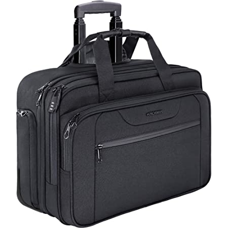 KROSER Rolling Laptop Bag Premium Wheeled Briefcase Fits Up to 17.3 Inch Laptop Water-Proof Overnight Roller Case Computer Bag with RFID Pockets for Travel/Business/School/Men/Women-Black