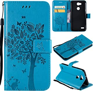 LG X Power 2 Case,LG Fiesta 2 /Fiesta LTE case, LG X Charge Case,Lacass Cat Tree Pattern PU Leather Flip Wallet Case Cover Kickstand with Card Slots and Wrist Strap for LG X Power 3 (Blue)
