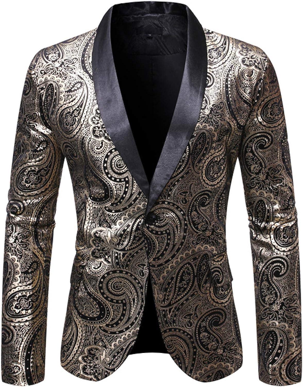 Elonglin Men's Suit Jacket Blazer Button Tuxedo Shiny Floral Pattern Dress Suit Halloween/Cosplay Tuxedo Jackets Blazers