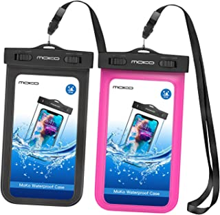MoKo Waterproof Phone Pouch [2 Pack], Underwater Waterproof Cellphone Case Dry Bag with Lanyard Compatible with iPhone 11/11 Pro/11 Pro Max/X/Xs/Xr/Xs Max/8/7, Samsung S10/S9/S8 Plus/S10 e, Up to 6.5