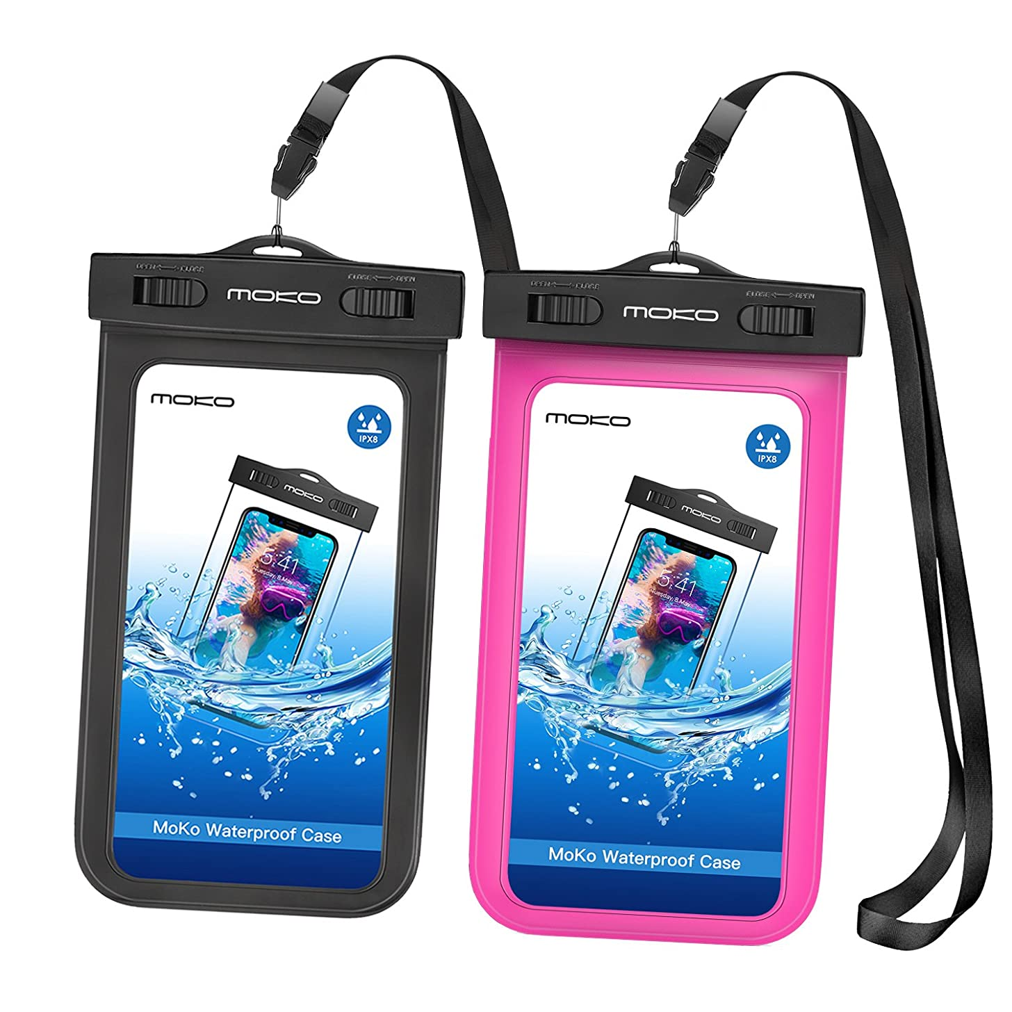 MoKo Waterproof Phone Pouch [2 Pack], Underwater Waterproof Cellphone Case Dry Bag with Lanyard Armband Compatible with iPhone X/Xs/Xr/Xs Max, 8/7/6s Plus, Samsung S10/S9/S8 Plus, S10 e, Up to 6.5