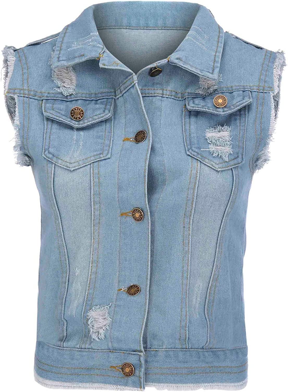 Women's Blouse,Fashion Women Plus Size Sleeveless Buttons Short Denim Vest Outwear Cowboy Top