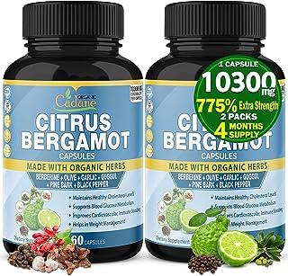 Citrus Bergamot Extract Capsules 10300mg & Berberine, Olive, Guggul, Garlic, Pine Bark, Black Pepper | High Cholesterol Le...
