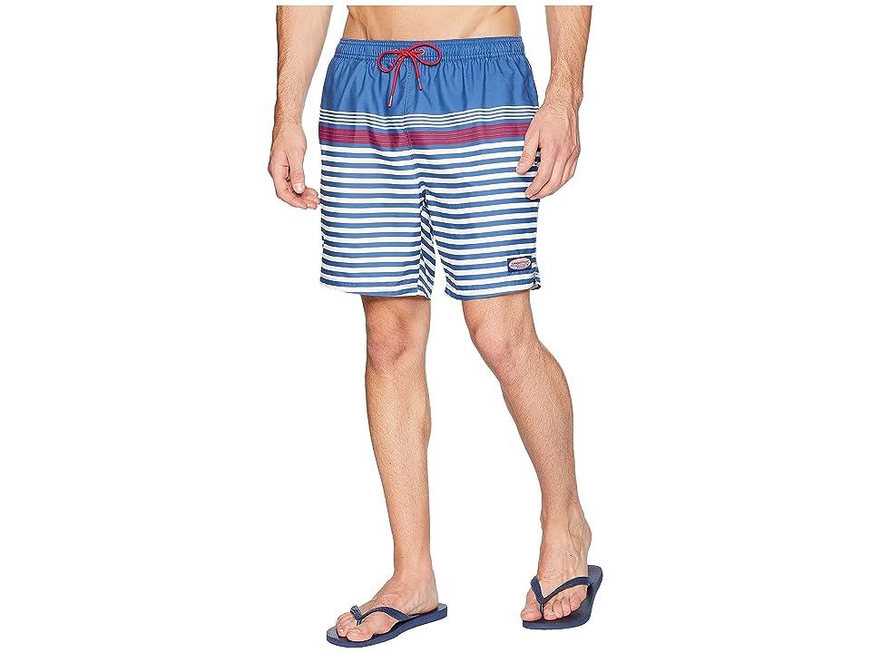 Vineyard Vines Summerall Stripe Chappy Swim Trunks (Moonshine) Men